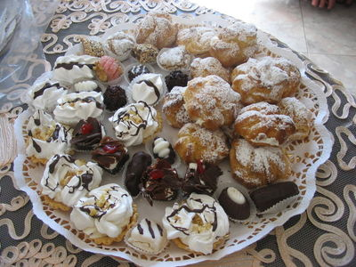 VARIETY Of marocain Cookies - Cream puffs, chocolate-coated candy